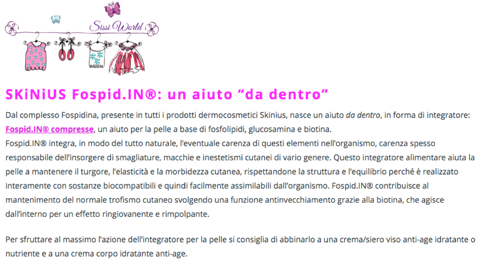 Fospid.IN integratore per la pelle antiage di skinius su Sissi World
